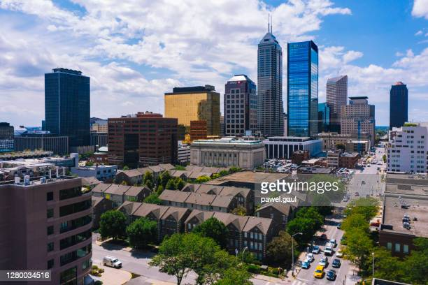 aerial view of indianapolis downtown indiana - indianapolis stock pictures, royalty-free photos & images