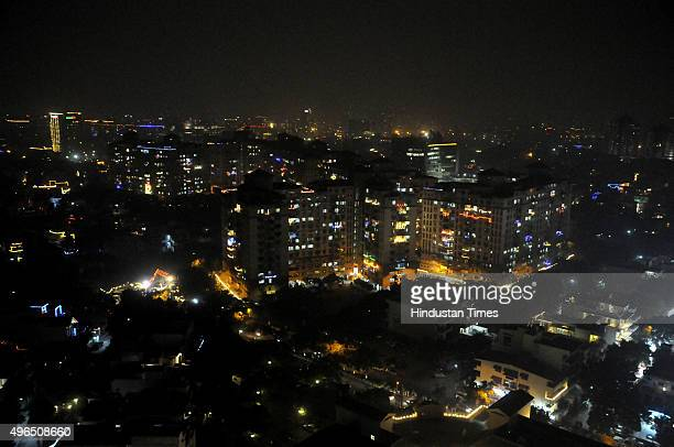 Aerial view of Indore city soaked in light and celebration ahead of Diwali on November 10 2015 in Indore India Festival of light Diwali is one of the...