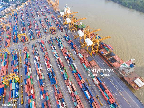 aerial view of industrial and container ship logistic the harbor - ship funnel stock photos and pictures