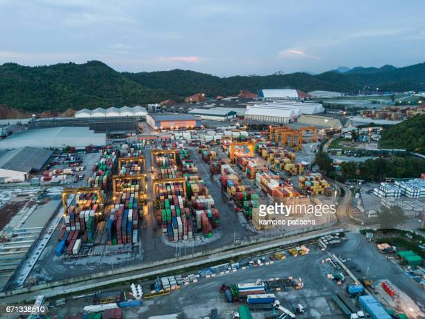 Aerial view of Industrial and Container ship logistic the harbor, Chonburi, Thailand
