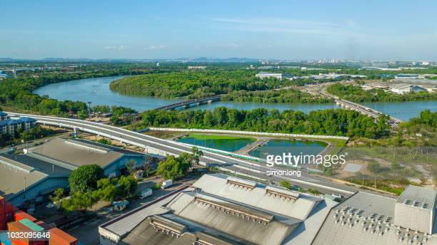aerial view of industrial area - 工場地帯 ストックフォトと画像