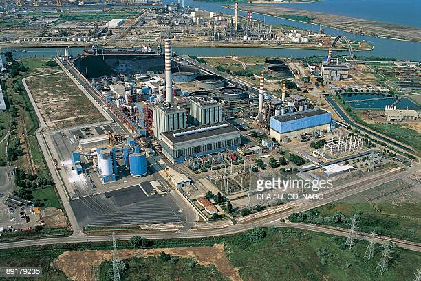 Aerial view of industrial buildings Mestre Veneto Italy