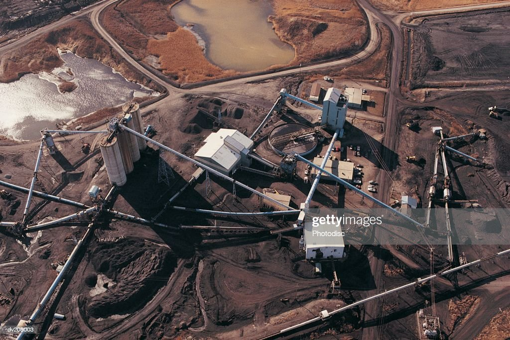 Aerial view of industrial complex : Stock Photo