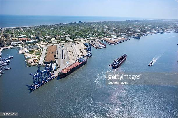 aerial  view of industrial galveston, texas - galveston stock pictures, royalty-free photos & images