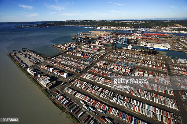 Aerial view of industrial port, Tacoma, Washington