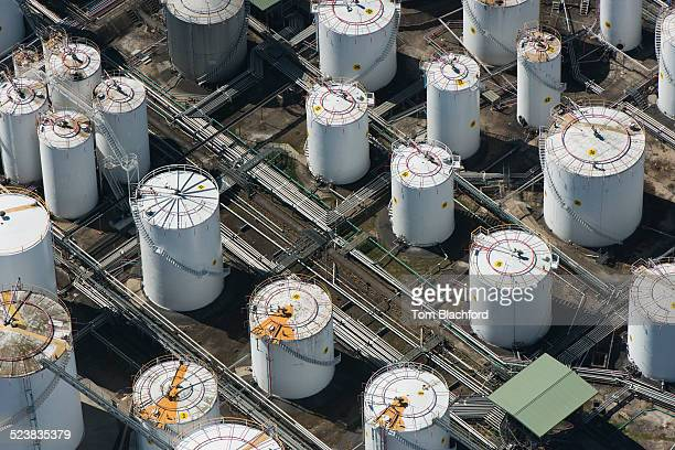 aerial view of industrial tanks, port melbourne, melbourne, victoria, australia - silo stock photos and pictures