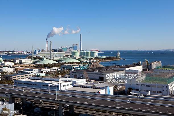 Aerial view of industry district in Isogo ward of Yokohama.
