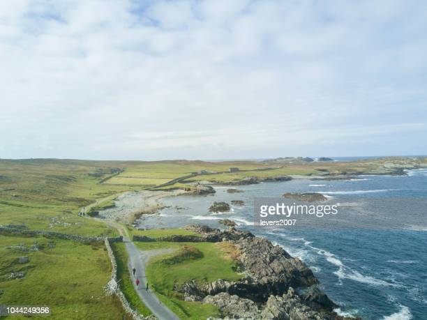 aerial view of inishbofin island, county galway, ireland. - county galway stock pictures, royalty-free photos & images