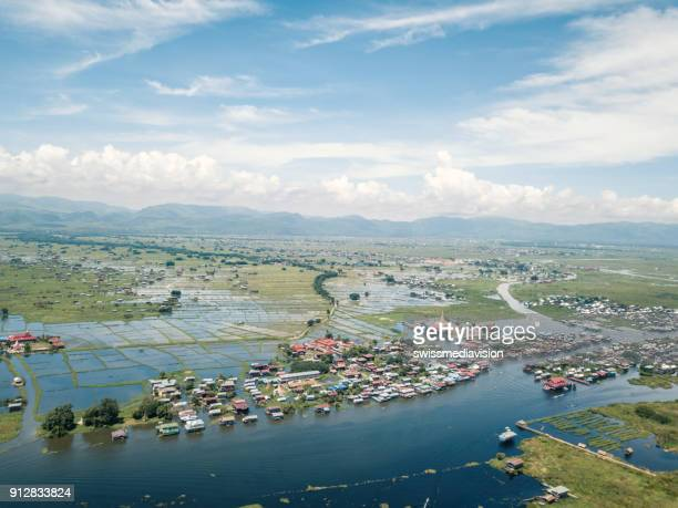 aerial view of inle lake and phaung daw oo pagoda, myanmar - myanmar culture stock pictures, royalty-free photos & images