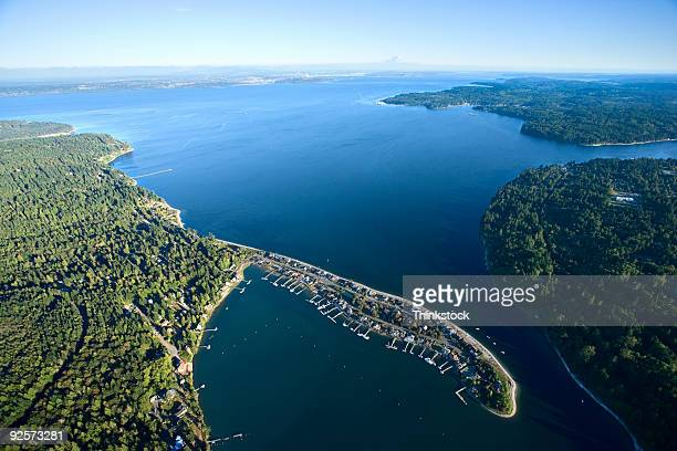 aerial view of inlet - bainbridge island stock pictures, royalty-free photos & images