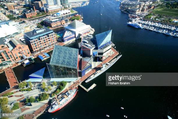 Aerial View of Inner Harbor, Baltimore, Maryland, USA.