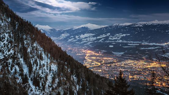 Aerial view of Innsbruck at night - gettyimageskorea