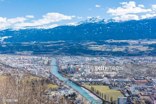 aerial view of innsbruck city in austria. - innsbruck stock pictures, royalty-free photos & images
