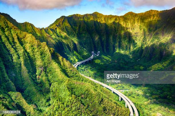 aerial view of interstate h-3 near honolulu - honolulu stock pictures, royalty-free photos & images