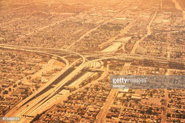 aerial view of interstates 405 and 105 in los angeles caifornia usa - highway 405 stock photos and pictures