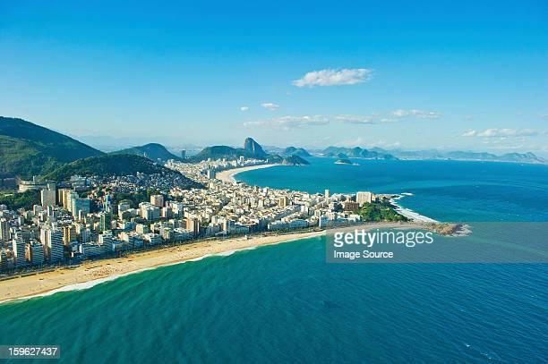 aerial view of ipanema and copacabana beaches, rio de janeiro, brazil - copacabana rio de janeiro stock-fotos und bilder