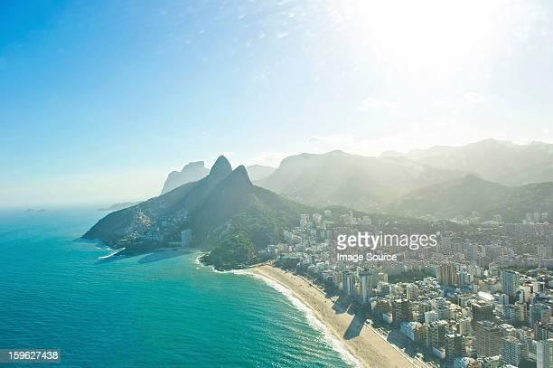 aerial view of ipanema beach and morro dois irmaos, rio de janeiro, brazil - rio de janeiro imagens e fotografias de stock