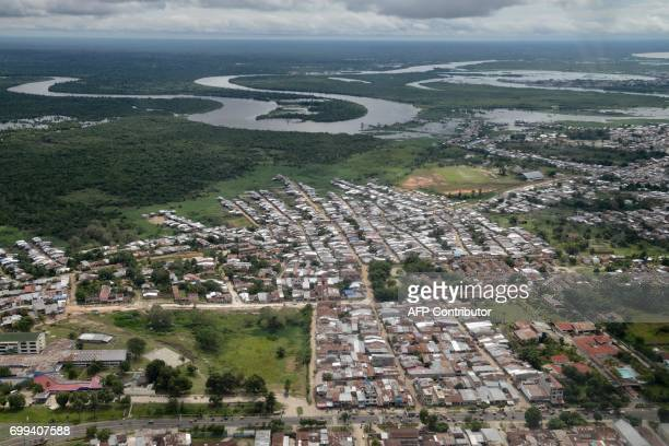Aerial view of Iquitos, Peru, where a tri-national Air Force team of Brazil, Colombia and Peru carries out joint exercises designed to improve...
