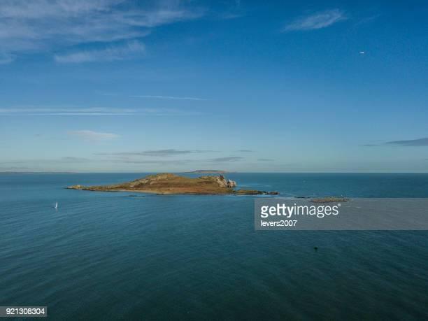 Aerial view of Irelands Eye Island, Howth, Dublin, Ireland.