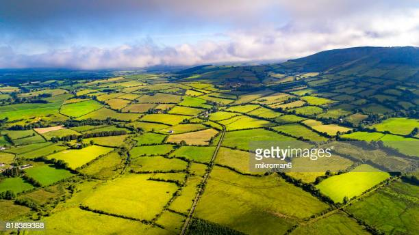 Aerial view of Irish rural scene on sunny summer day in Tipperary fields.