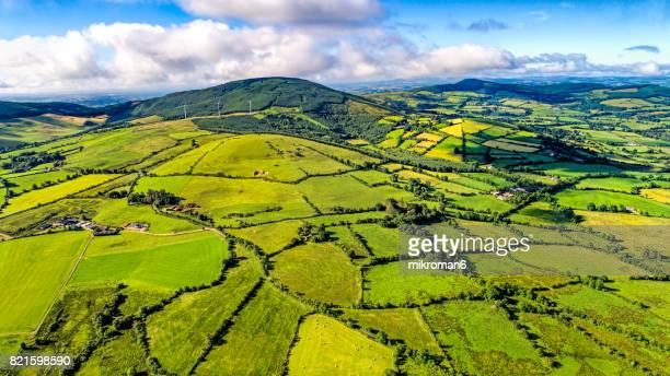 aerial view of irish rural scene on sunny summer day in tipperary fields. ireland - dublin fotografías e imágenes de stock