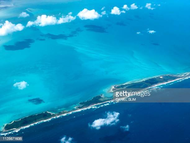 Aerial view of Isla Contoy, north of Cancun, Mexico, on February 17, 2019.