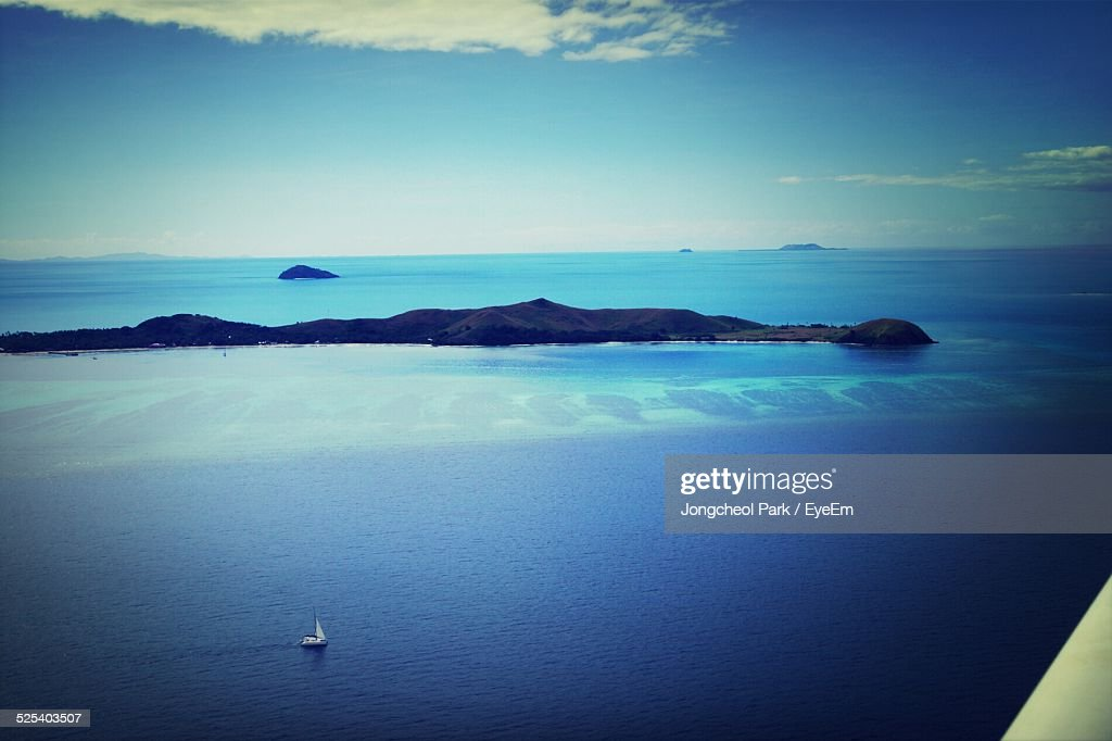 Aerial View Of Island Against Sky : Stock Photo