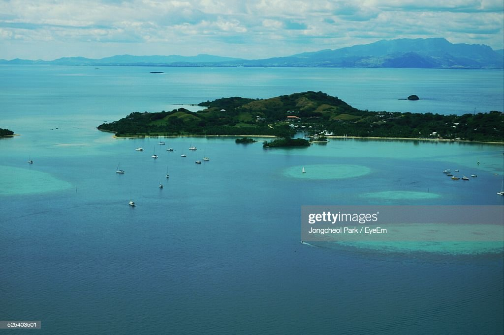 Aerial View Of Island In Blue Sea : Stock Photo