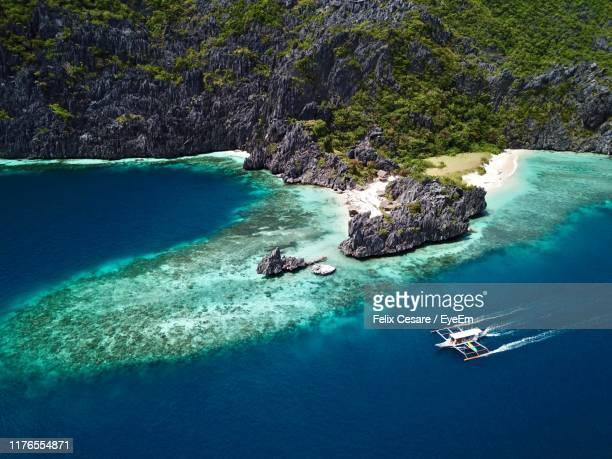 aerial view of island - el nido stock pictures, royalty-free photos & images