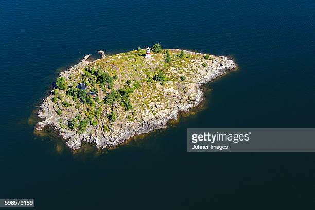 aerial view of island - dalsland stock photos and pictures