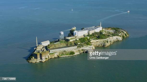 Aerial view of island prison, San Francisco, California, United States