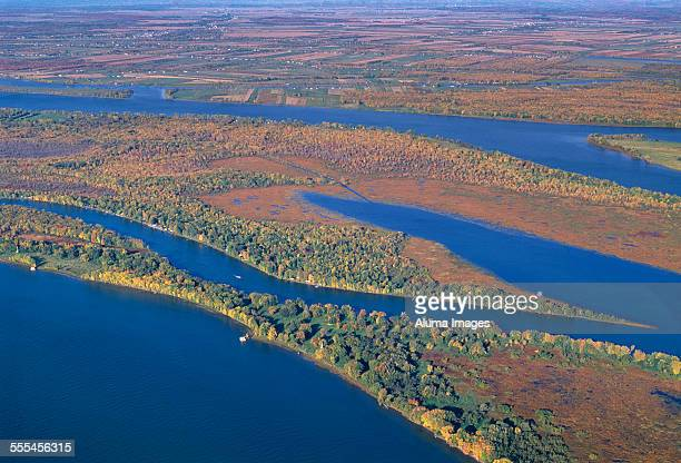 aerial view of islands in the st lawrence river - river st lawrence stock pictures, royalty-free photos & images