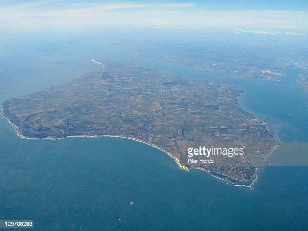 aerial view of isle of wight - isle of wight stock photos and pictures
