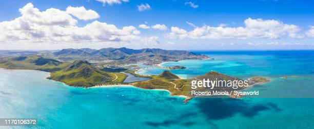 aerial view of islet in the caribbean sea, antigua - paisajes de republica dominicana fotografías e imágenes de stock