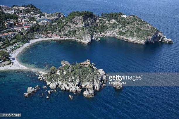 Aerial view of Isola Bella di Taormina during an operational mission from the Coast Guard helicopter on May 01 2020 in Taormina Italy Italy is still...