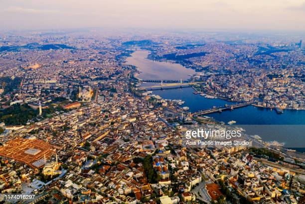 aerial view of istanbul at sunrise, turkey. - istanbul stock pictures, royalty-free photos & images