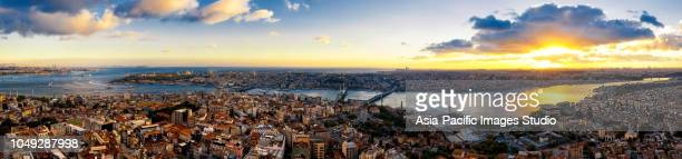 aerial view of istanbul at sunset, turkey(panorama xxl) - istanbul stock pictures, royalty-free photos & images