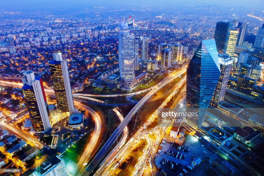 Aerial view of Istanbul lit up at night : Foto de stock