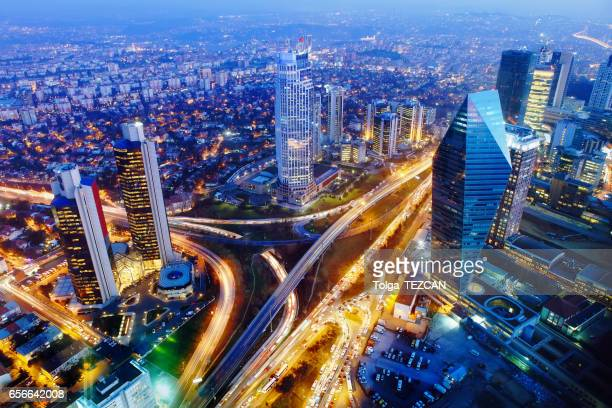 Aerial view of Istanbul lit up at night