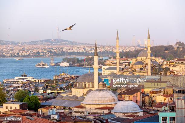 aerial view of istanbul skyline at sunset - istanbul stock pictures, royalty-free photos & images