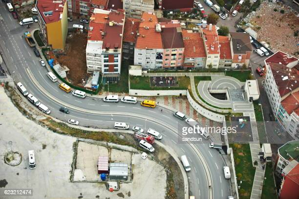 Aerial View of Istanbul Traffic