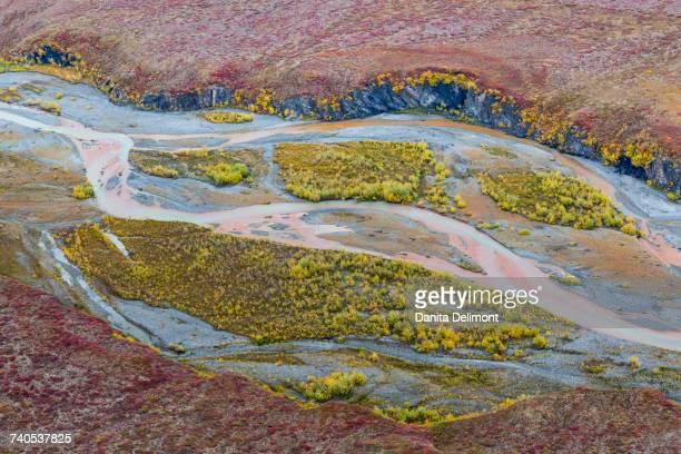 Aerial view of Ivishak River in Arctic National Wildlife Refuge, Alaska, USA