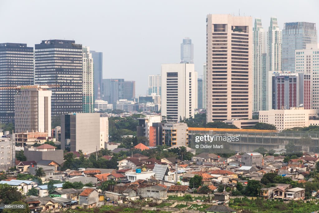 Aerial view of Jakarta cityscape in Indonesia capital city : Stock Photo