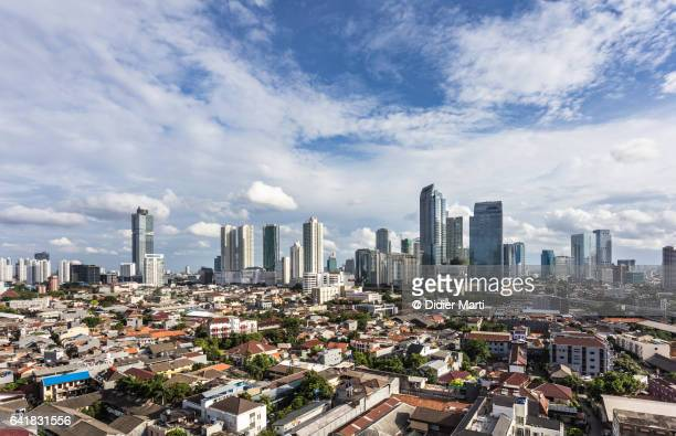 Aerial view of Jakarta skyline on a sunny day in Indonesia