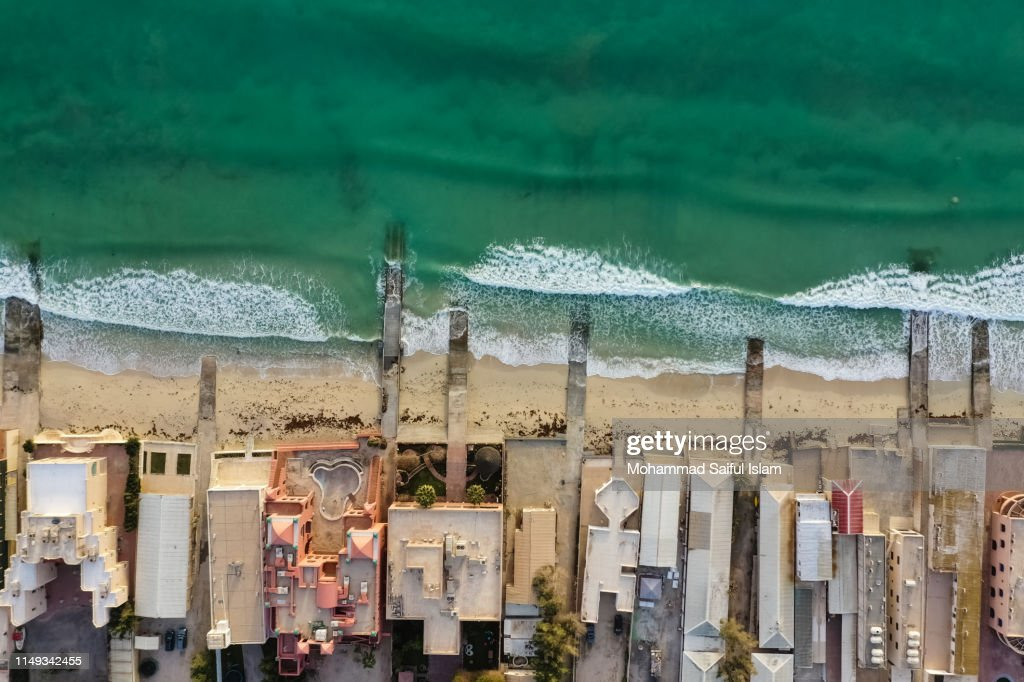 Aerial View Of Jalaiya Beach A Popular Vacation Destination In Kuwait High Res Stock Photo Getty Images