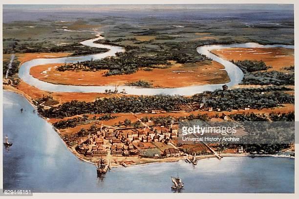Aerial View of Jamestown Virginia Painting 17th Century