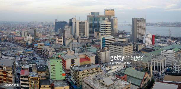 Aerial view of Jankara market and business area in Lagos island on March 17 2016 in Lagos Nigeria