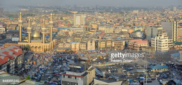 Aerial view of Jankara market and Central mosque - Business area in Lagos island on March 17, 2016 in Lagos, Nigeria.