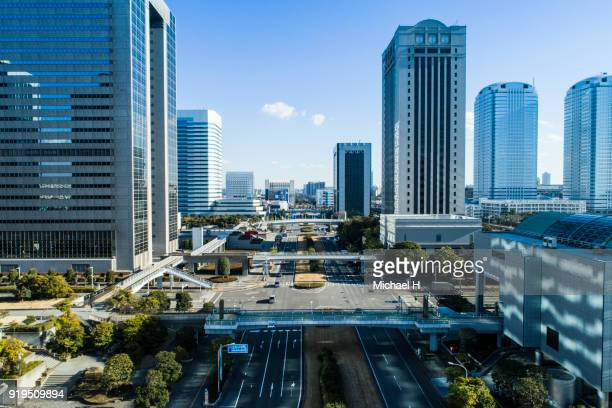 aerial view of japanese business district - urban renewal stock pictures, royalty-free photos & images