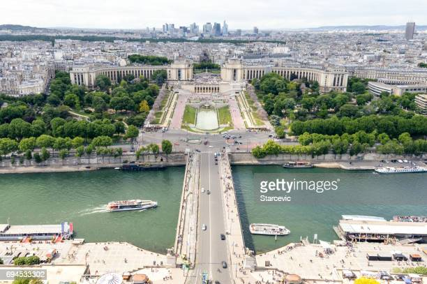 Aerial view of Jardins du Trocadero and cityscape of Paris